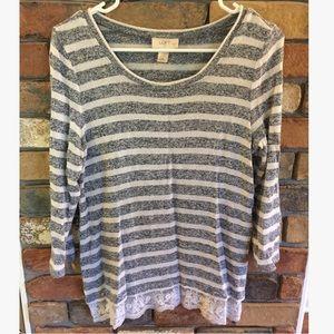 Ann Taylor LOFT Factory Striped Long Sleeve Top